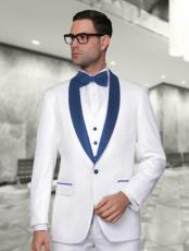 Alberto Nardoni White and Navy BlueVested Shawl Lapel Tuxedo