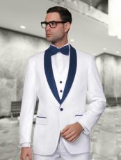 WTX_Tux_SH Mens White and Navy Blue Vested Shawl Lapel