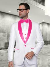 WTX_Tux_SH Mens White and Hot Pink ~ Fuchsia Vested