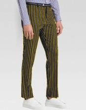 JA578 Mens Slacks Black Ganagster Chalk Striped Slim Fit