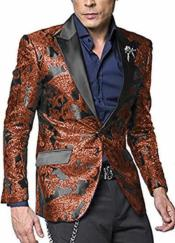 Rust ~ Brick Paisley Pattern Two Button Suit