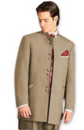 JA601 Mens Mandarin Tuxedo Single Breasted Tan Suit