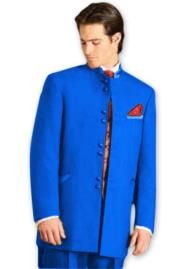 JA602 Mens Mandarin Tuxedo Single Breasted Royal Blue Suit