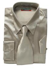 KG311 New Mezzo Khaki Satin Dress Shirt Tie Combo