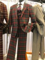 JA612 Mens Single Breasted Notch Lapel Dark Plaid Suit