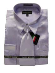 BH100 New Lavender Satin Dress Shirt Tie Combo Shirts