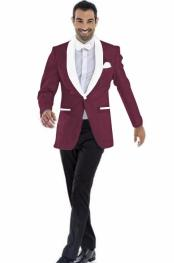 mens Blazer Burgundy ~ White