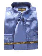 HG423 New Royal Satin Dress Shirt Tie Combo Shirts