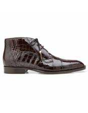 EK303 Mens Brown Cap Toe Alligator Lace Up Shoe