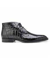 EK304 Mens Alligator Lace Up Black Cap Toe Shoe