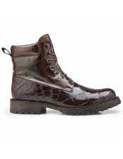 EK306 Mens Alligator Brown Cap Toe Shoe Lace Up