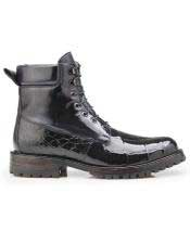 EK307 Mens Lace Up Black Cap Toe Alligator Shoe