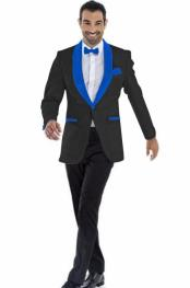 JA633 Mens Blazer Black ~ Royal Blue