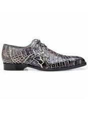 EK310 Mens Alligator Brown Cap Toe Lace Up Shoe