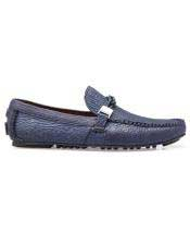 EK312 Mens Blue Calf ~ Leather Slip On Shoe