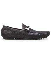 EK313 Mens Slip On Black Calf ~ Leather Shark