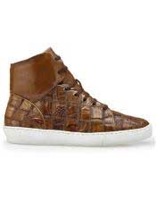 EK314 Mens Lace Up Brown Crocodile Patch Work Shoe