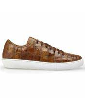 EK316 Mens Lace Up Brown Crocodile Shoe