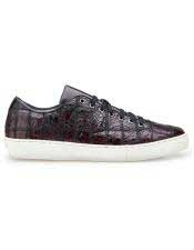 EK317 Mens Lace Up Burgundy Crocodile Shoe