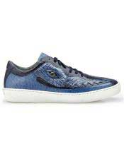 EK318 Mens Lace Up Jean Crocodile Navy ~ Blue
