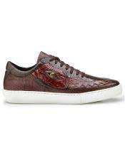 EK319 Mens Brown Crocodile Lace Up Shoe