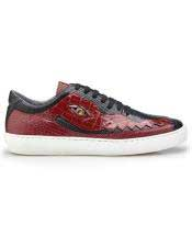 EK320 Mens Lace Up Black ~ Red Crocodile Shoe