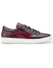 EK321 Mens Lace Up Ostrich Burgundy Shoe