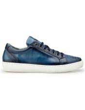 mens Blue Lace Up Ostrich