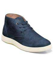 EK328 Mens Lace Up Suede ~ Nubuck Blue Shoe