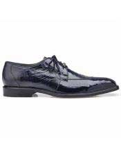 EK332 Mens Blue Ostrich Lace Up Shoe