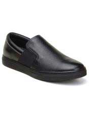 EK340 Mens Slip On Black Shoe