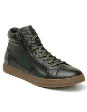 Mens Green Lace Up
