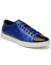 EK347 Mens Blue ~ Brown Lace Up Shoe