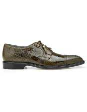 EK348 Mens Green Lace Up Ostrich Shoe