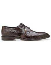 EK349 Mens Brown Ostrich Lace Up Shoe