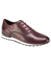 EK351 Mens Burgundy Calf ~ Leather Lace Up Shoe