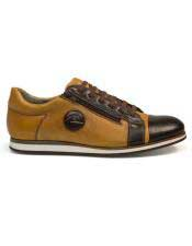 mens Brown Lace Up Calf