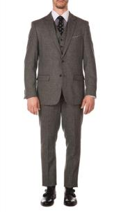 JA664 Mens Ferrecci York Grey Slim Fit 3pc Herringbone