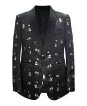 JA676 Cheap Mens Printed Unique Patterned Print Floral Tuxedo