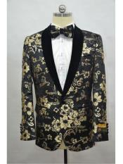JA712 Cheap Mens Printed Unique Patterned Print Floral Tuxedo