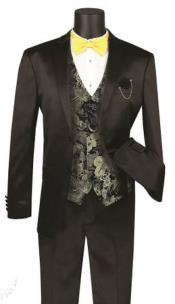 JA739 Mens Single Breasted Shawl Lapel Shiny Flashy Stripe