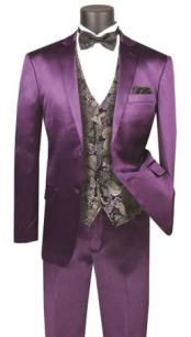 JA740 Mens Single Breasted Shiny Flashy Purple Slim Fit