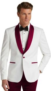 JA744 Mens Single Breasted Burgundy Slim Fit Tuxedo Dinner