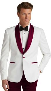 JA745 Mens Single Breasted Dark Burgundy Slim Fit Tuxedo