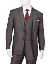 VT7 Mens 1920s Vintage Style Suit Gray Plaid 3