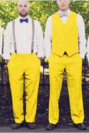 mens Suit Vest Yellow