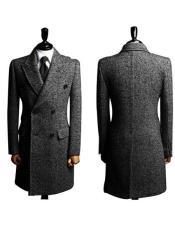 Grey Big and Tall Topcoat Wool Winter Coats
