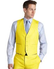 mens Suit Vest Yellow