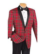 Red Plaid Tuxedo Jacket with