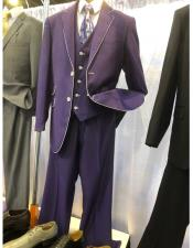 EK422 Mens Purple Two Button Single Breasted Suit